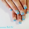 turquoise glitter gradient summer nails