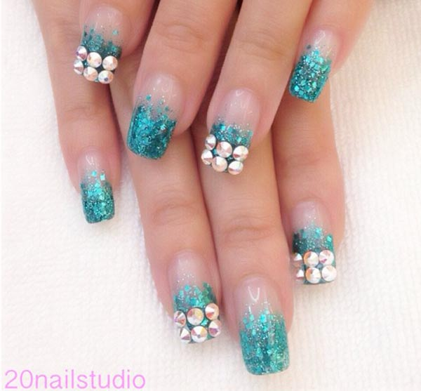 turquoise glitter studded gradient french nails