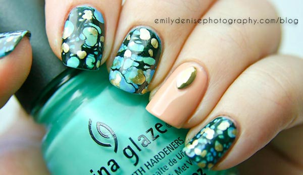 turquoise gold spray marbled nails