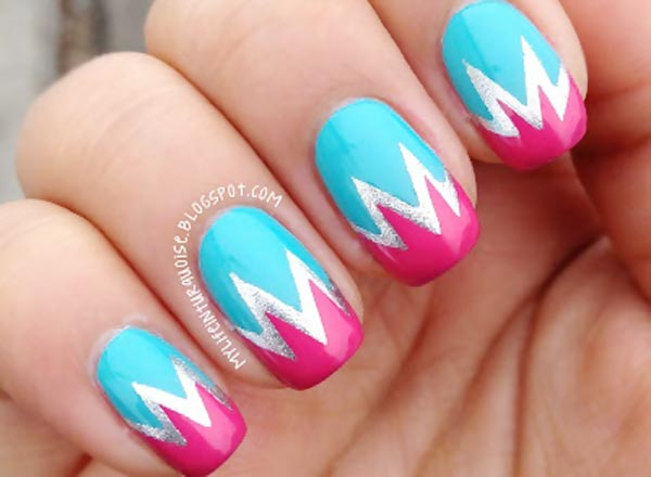 turquoise pink silver chevron nails