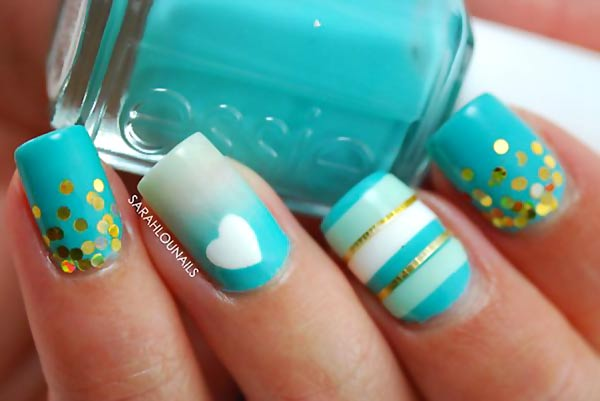 turquoise white gradient glitter striped nails