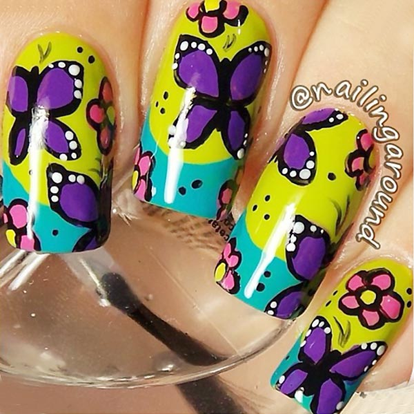 turquoise yellow french colorful butterfly nails