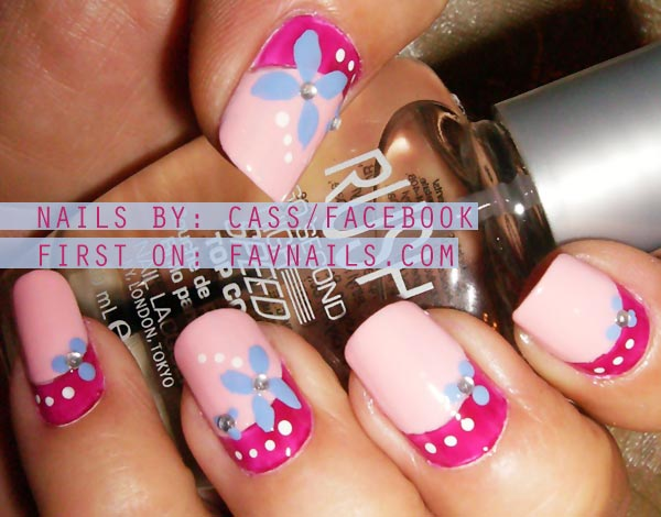 two toned pink flowers lovely nails