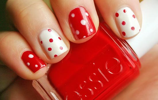 valentine s day dotted nails