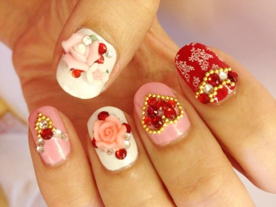 valentine s day decorated nails