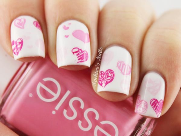 valentines stamped pink hearts white nails