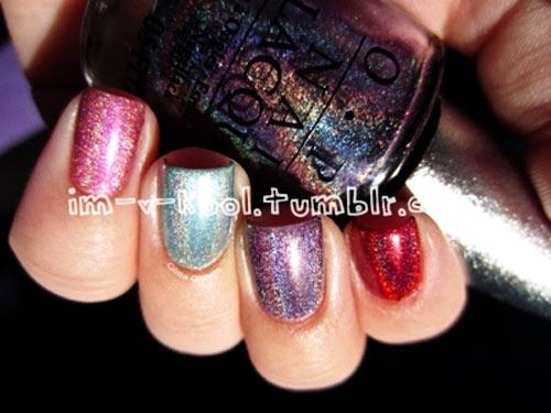 various colors shimmer nails
