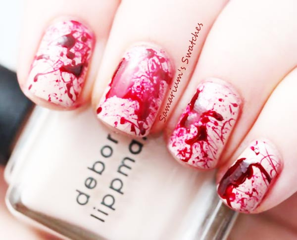 blood red splatter easy halloween nails
