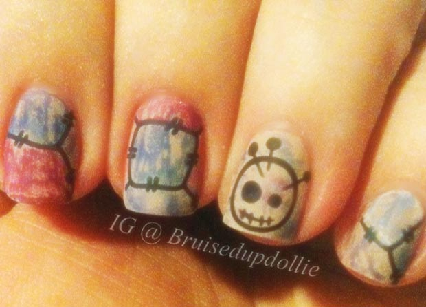 vintage halloween stamped nails