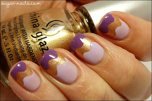 waves purple gold nails