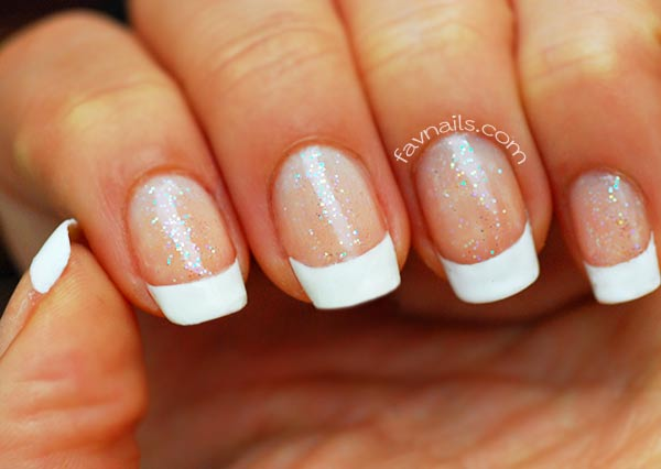 wedding manicure holo glitter french nails