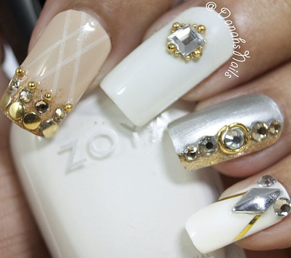 white beige studded classy nails