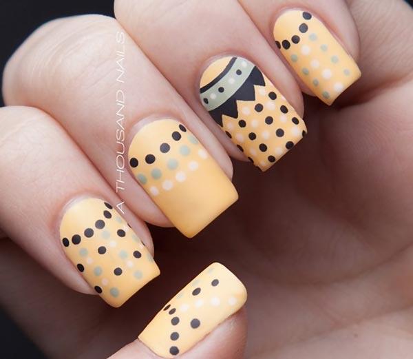 white black gray dots pastel nails