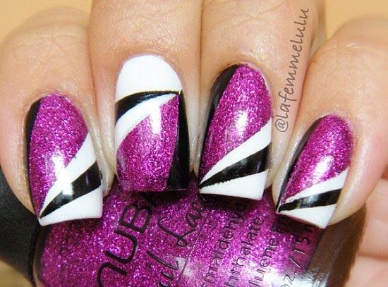 black white stripes purple shimmer nails