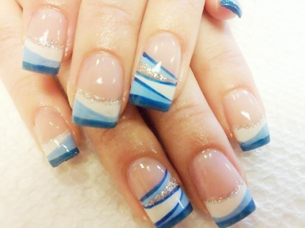 white blue stripes silver french nails