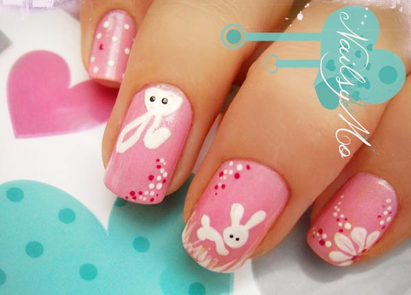 white bunnies on pink Easter nails