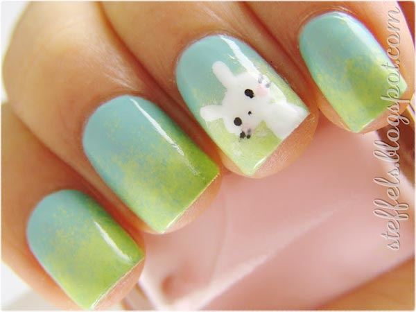 white bunny gradient easter nails