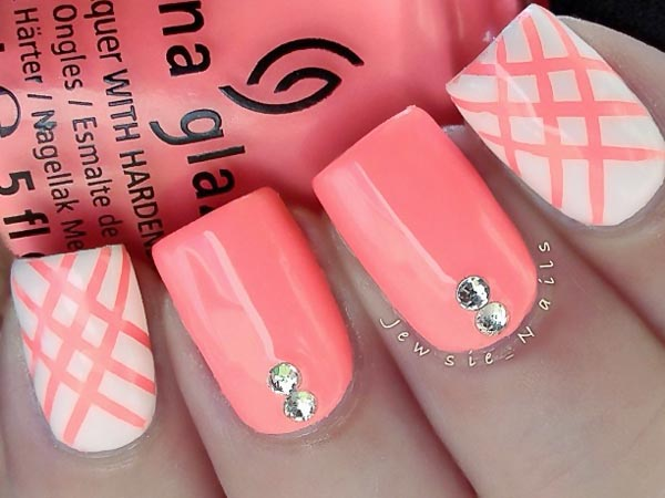 white coral rhinestones girly nails
