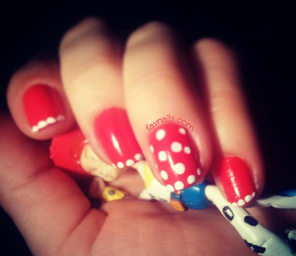 white dotted french red nails