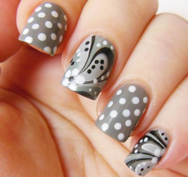 white dots gray black marbled nails