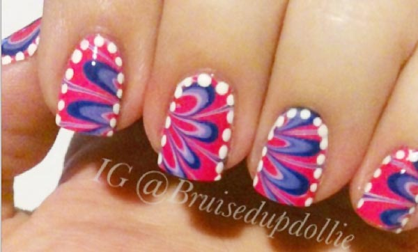 white dots frame pink blue marbled nails