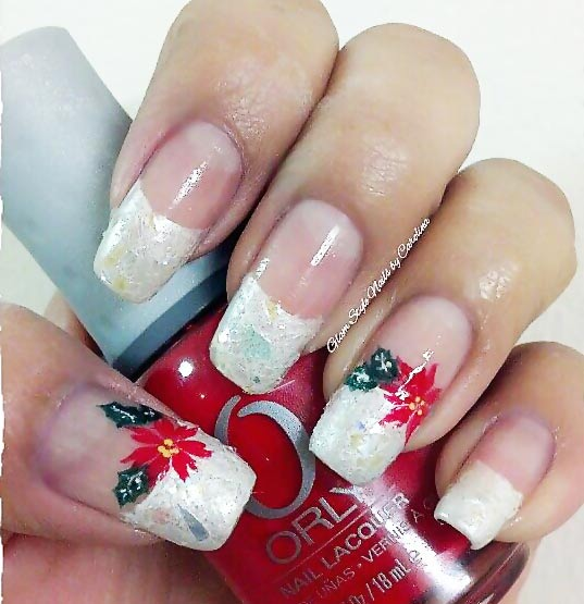 white glitter christmas poinsettia french nails