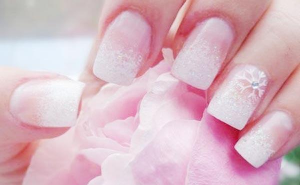 white glitter french bridal nails