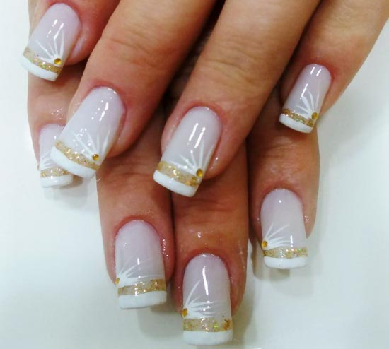 white gold classy french wedding nails