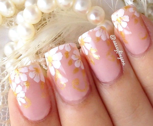 white gold flowers delicate wedding nails