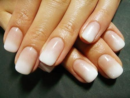 white gradient french nails