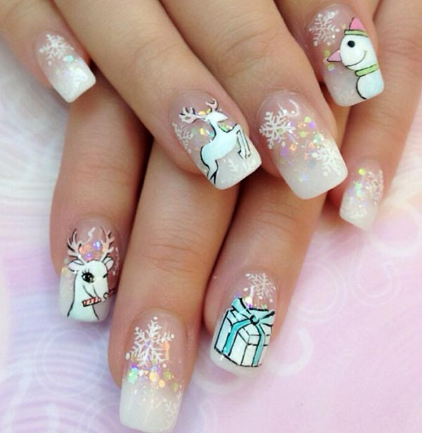White Gradient Glitter Winter Nail Art Nails Favnails
