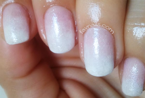 white gradient shimmer perfect wedding nails