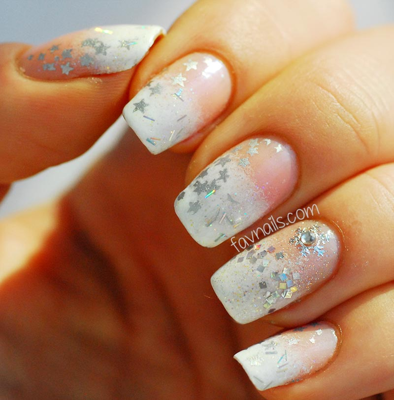 white gradient silver stars snowflakes winter nails
