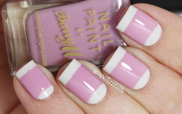 white halfmoon tips pink french nails