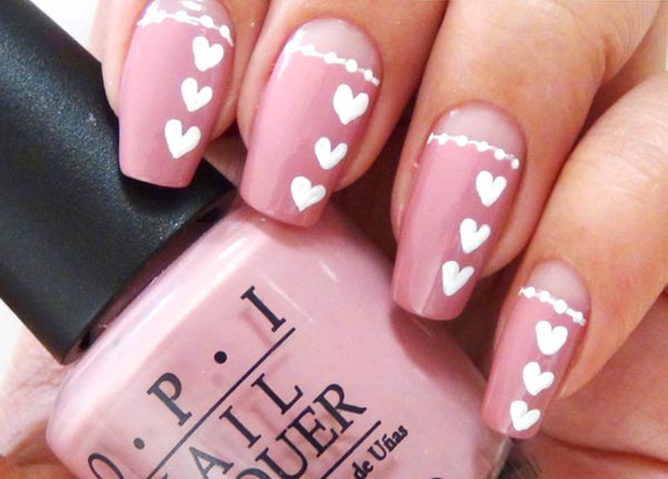 white hearts pink valentine s day nails