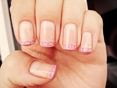 white lace on pink french nails