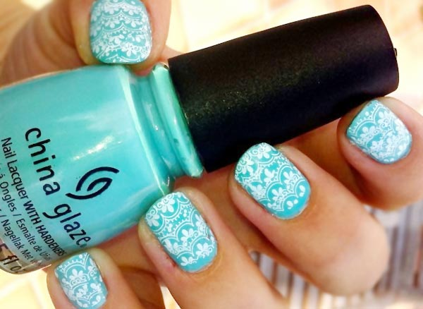 white lace stamped turquoise nails