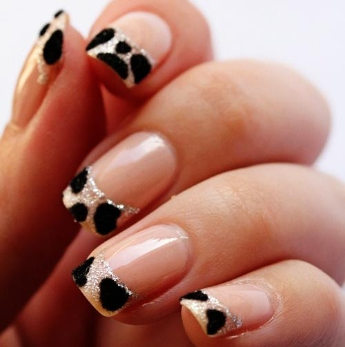 white leopard textured french nails