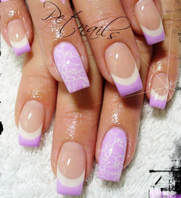 white lilac french tips nails