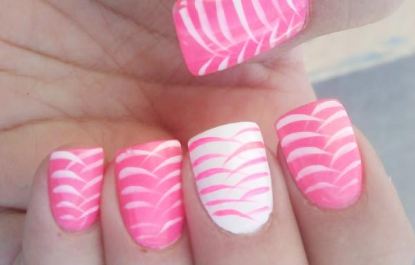 white on pink girly nails
