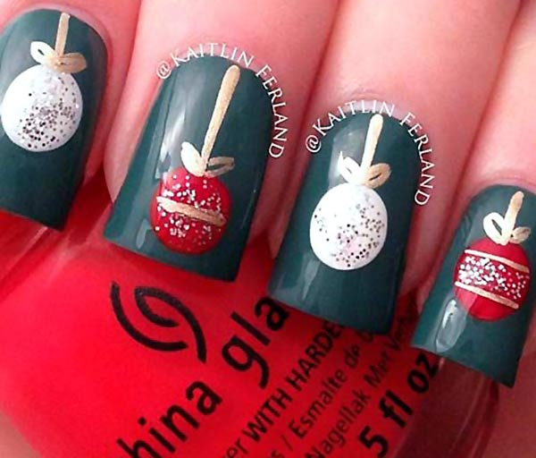 white red baubles christmas nails