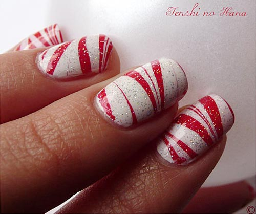 Christmas Nails Red And White: Red White Marbled Christmas Nails
