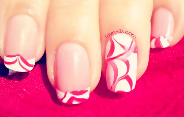 white red marbled french spring nails