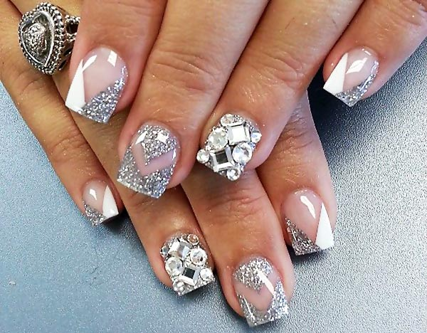 white silver rhinestones festive wedding nails