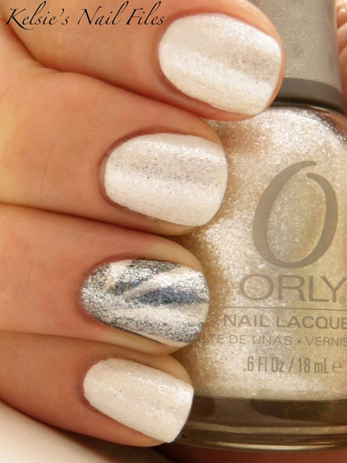 white silver shimmer party nails