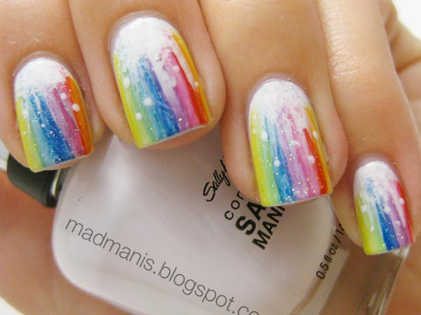 White Splatter Nails White Splatter Rainbow Nails