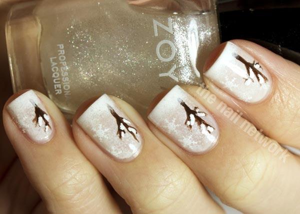 white trees winter nails