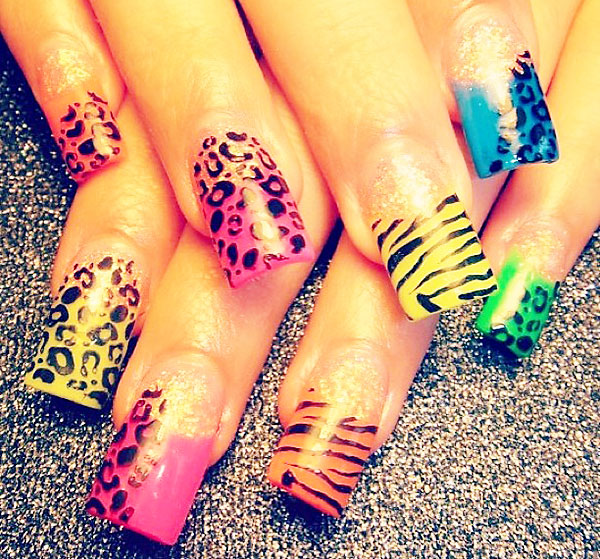 wild print glitter neon french nails