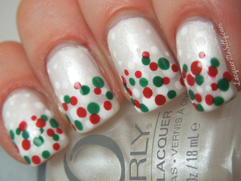 winter red green dotted nails