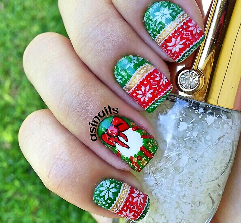 winter sweater christmas wreath nails